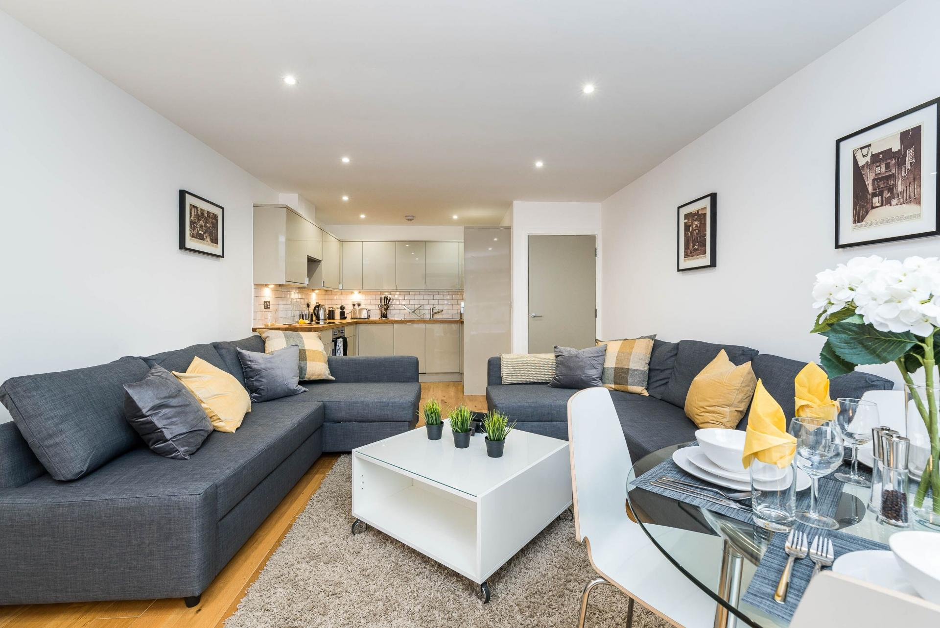 Living room at Vibrant Vauxhall Apartments - Citybase Apartments