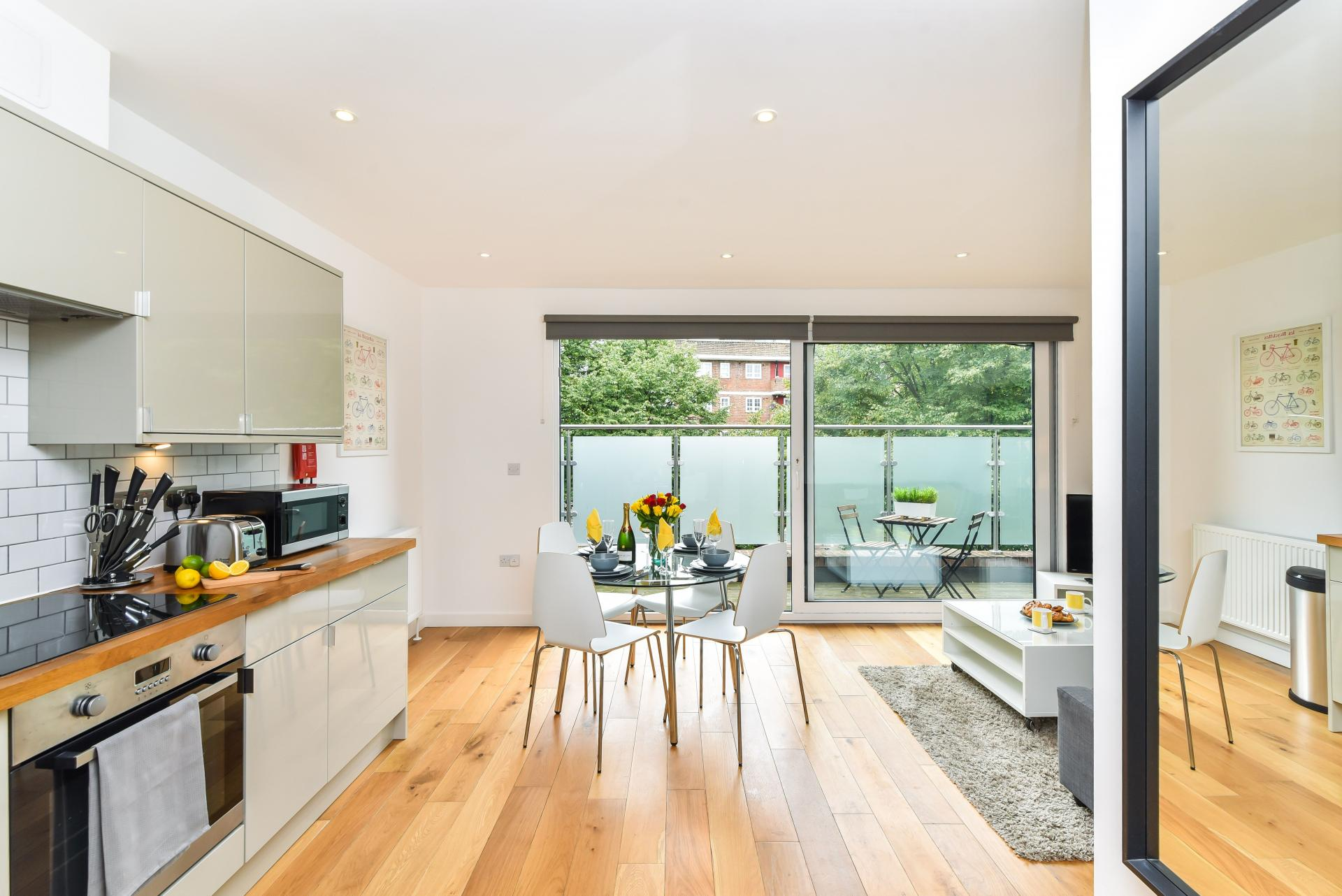 Bright kitchen at Vibrant Vauxhall Apartments - Citybase Apartments