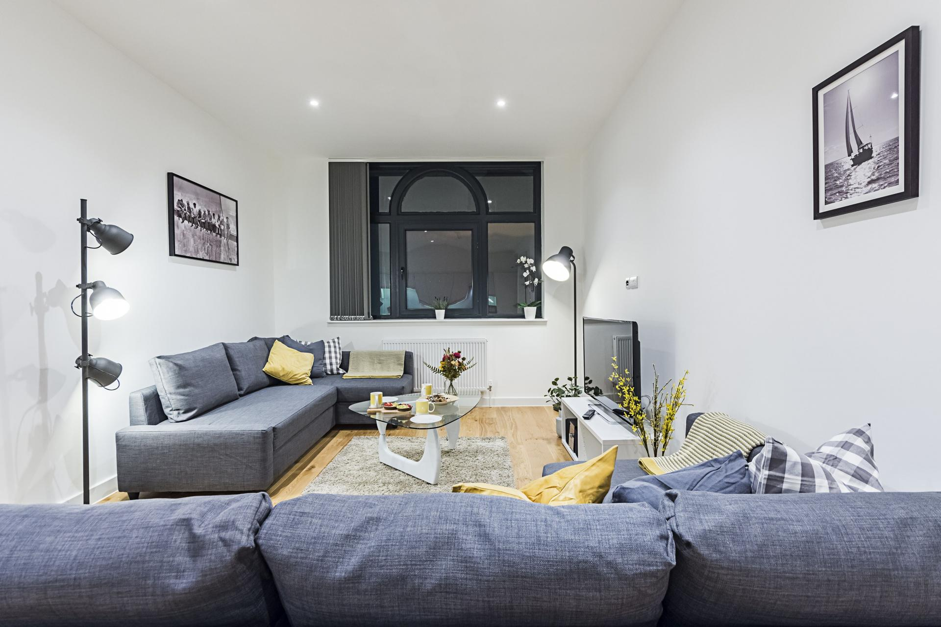 Modern lounge at Vibrant Vauxhall Apartments - Citybase Apartments