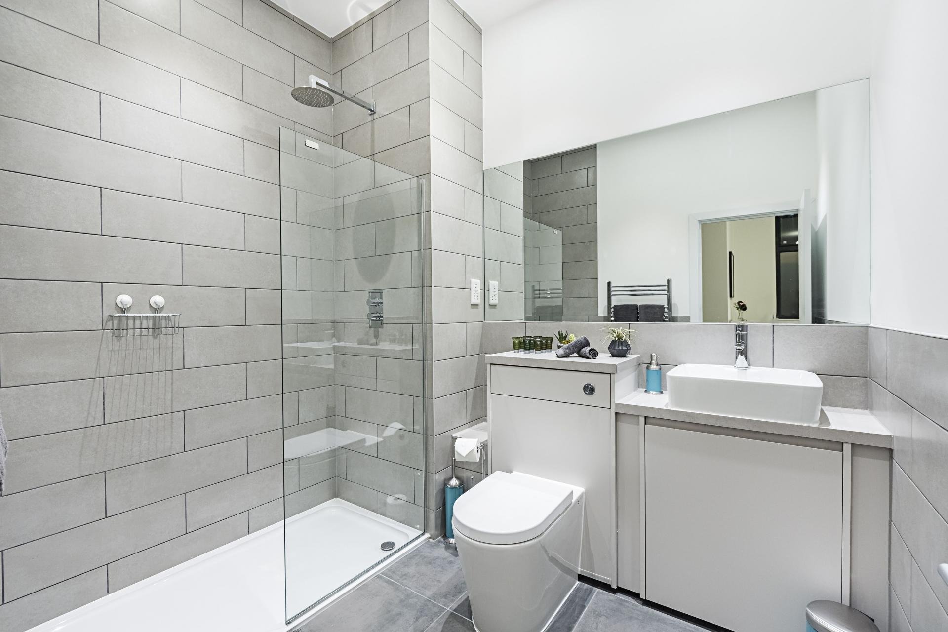 Modern bathroom at Vibrant Vauxhall Apartments - Citybase Apartments