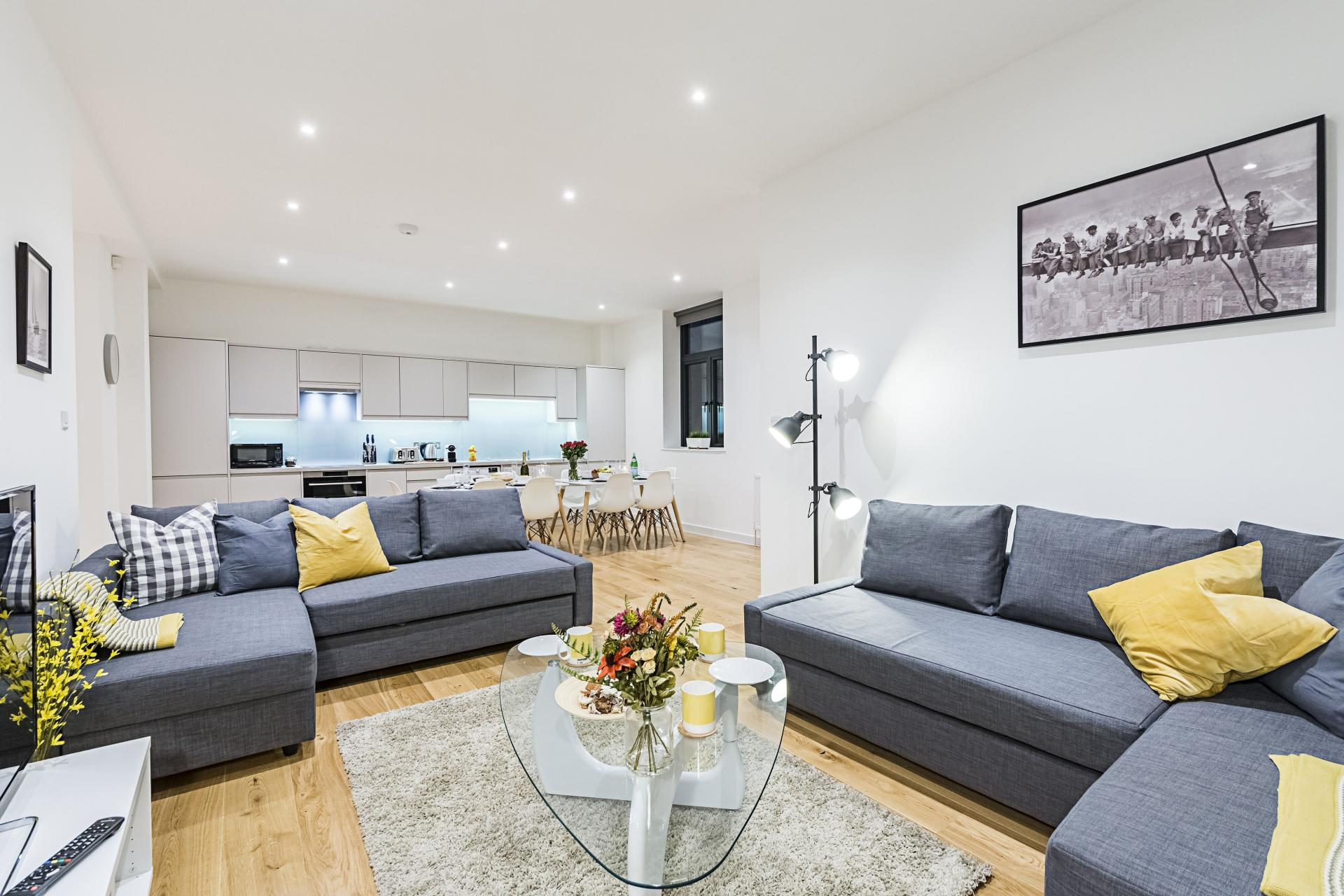 Airy living room at Vibrant Vauxhall Apartments - Citybase Apartments