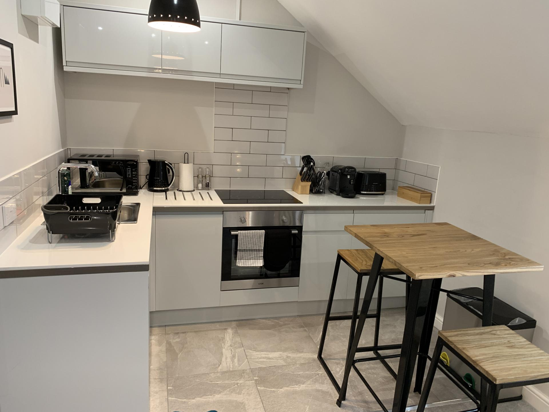 Kitchen at Victoria House Serviced Apartments, Victoria Park, Cardiff - Citybase Apartments