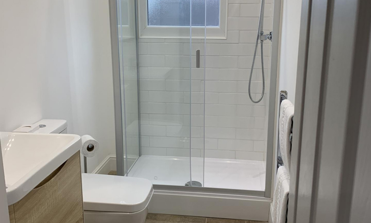 Shower at Victoria House Serviced Apartments, Victoria Park, Cardiff - Citybase Apartments