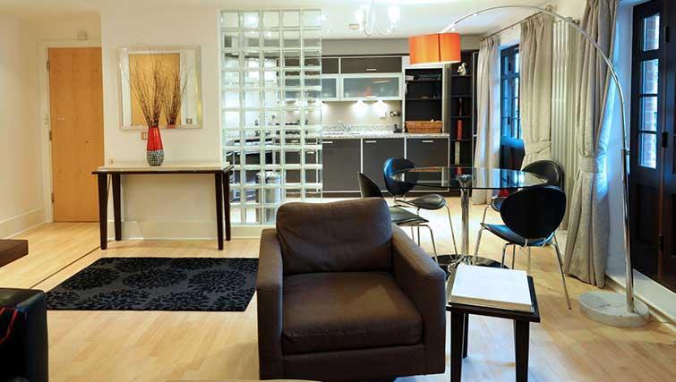Open-plan living area at Blake Mews Apartments - Citybase Apartments