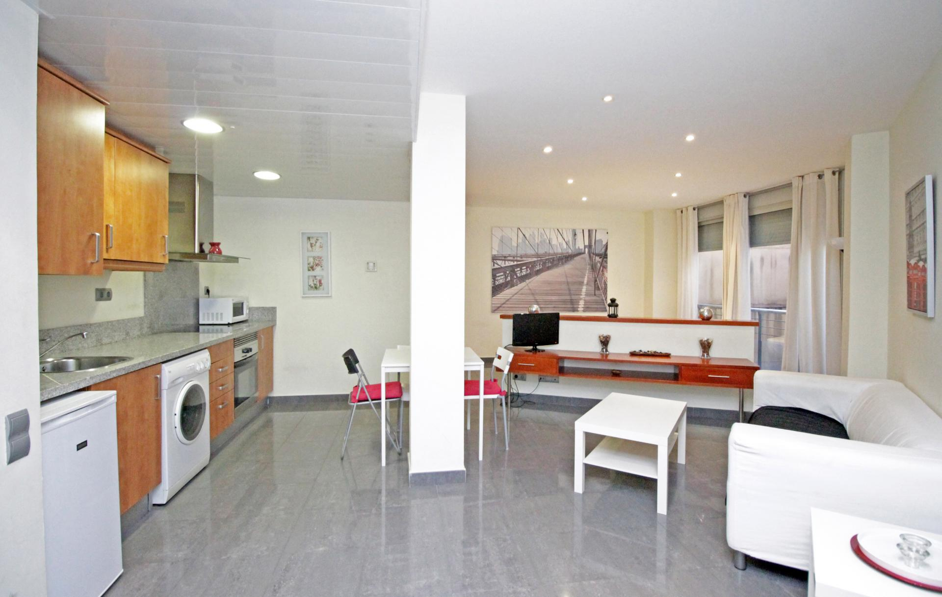 Spacious living area at Universidad Apartments - Citybase Apartments