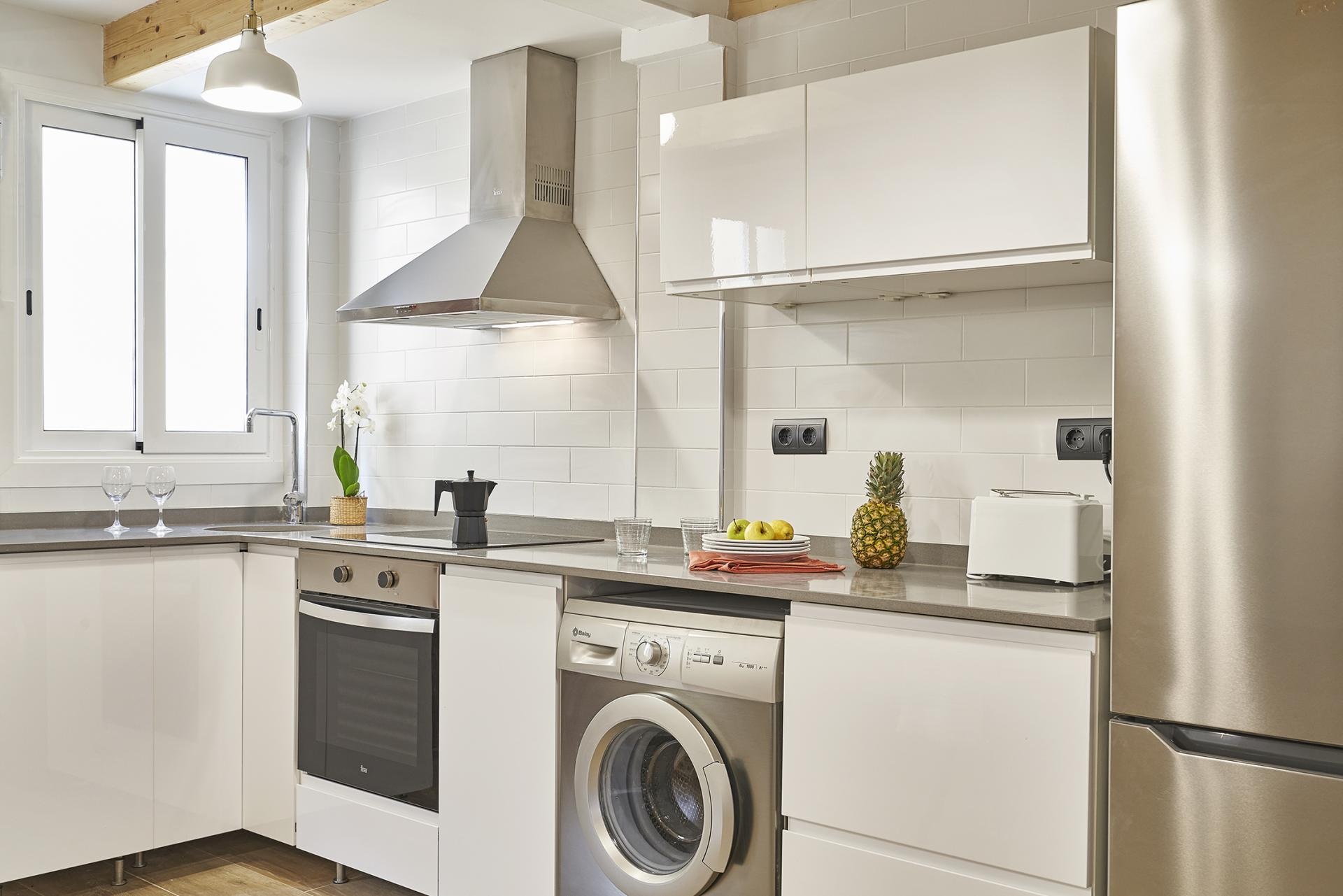 Kitchen at Eixample Duplex Apartment - Citybase Apartments