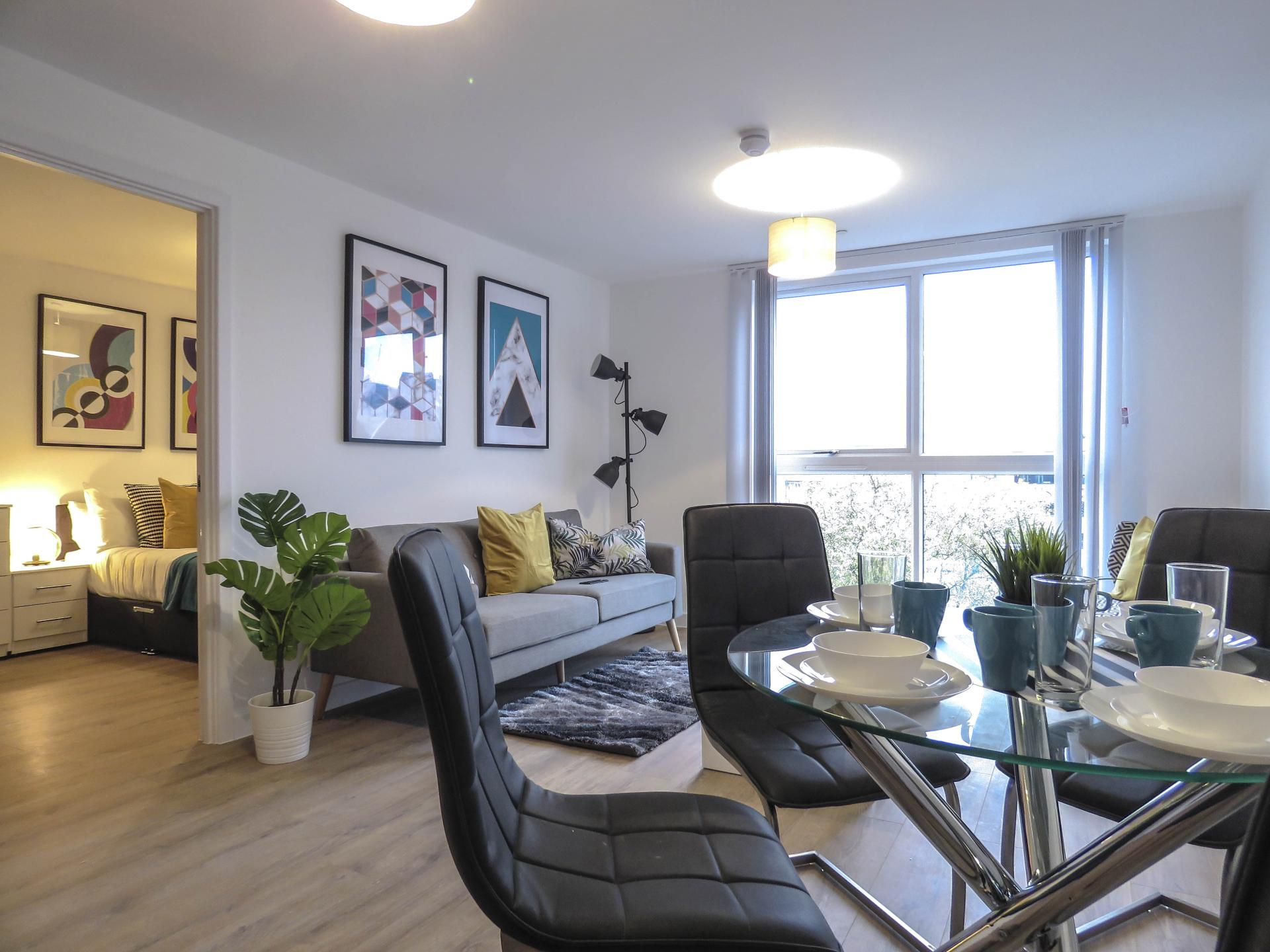 Living area at Canal Side Serviced Apartments - Citybase Apartments