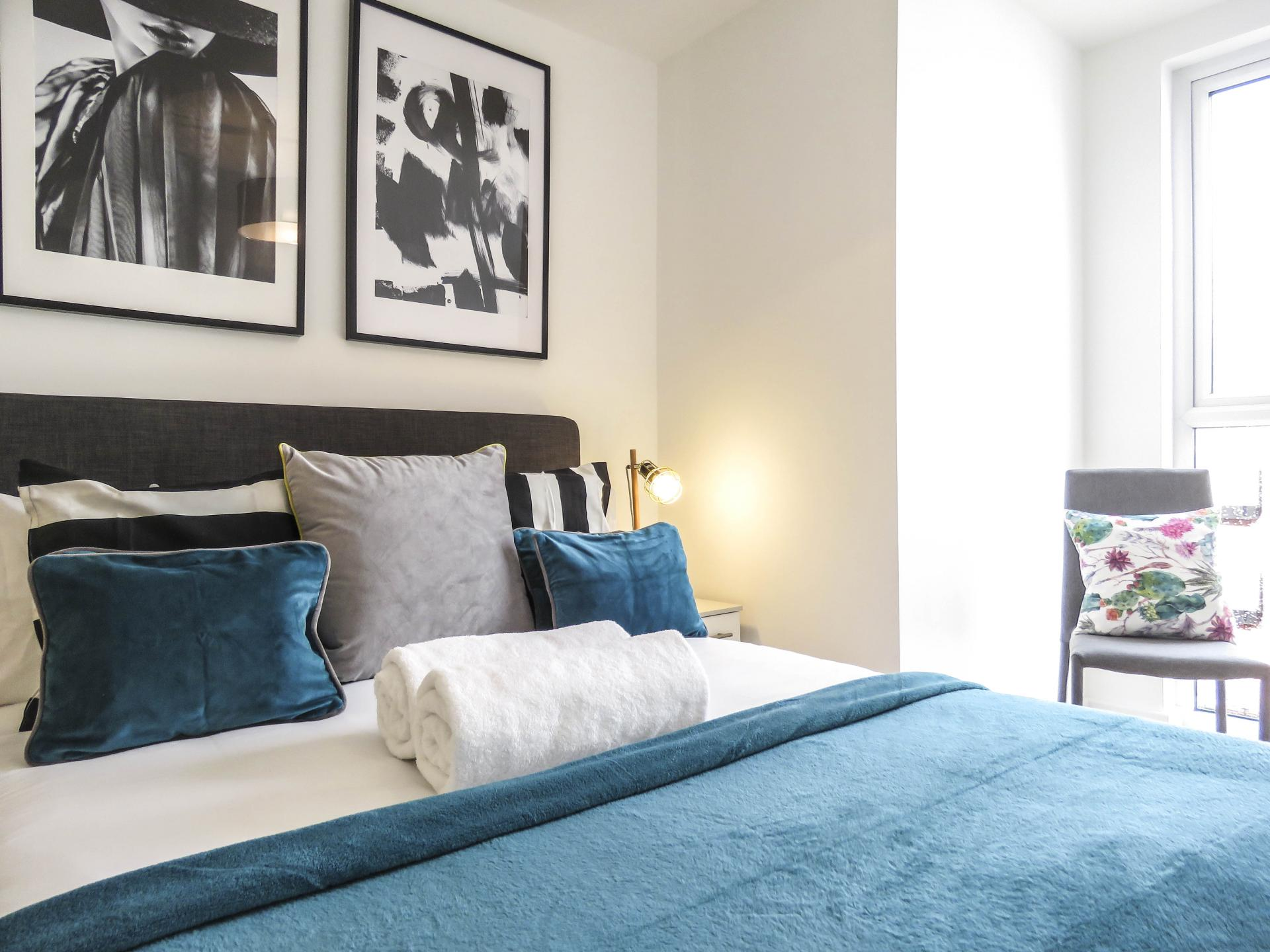 Modern bedroom at Canal Side Serviced Apartments - Citybase Apartments