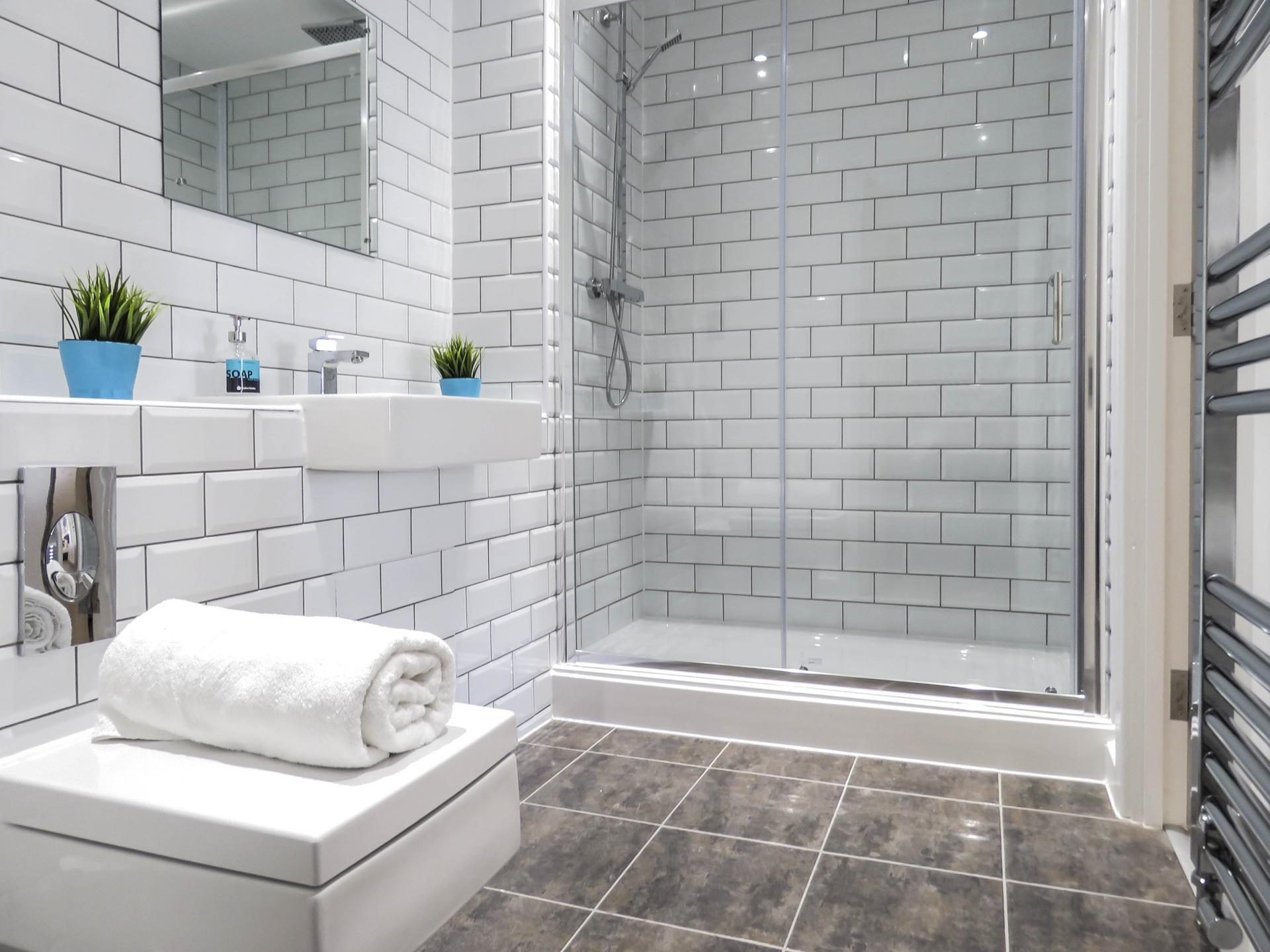 Shower at Canal Side Serviced Apartments - Citybase Apartments