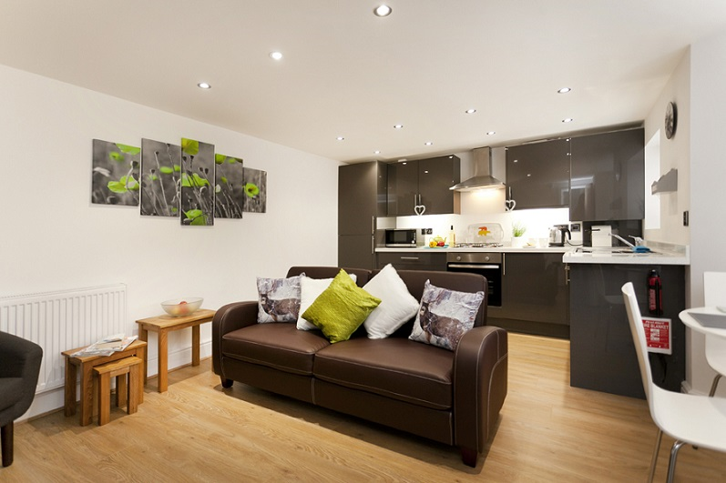Open-plan living and kitchen area at Bowling Green Apartments - Citybase Apartments