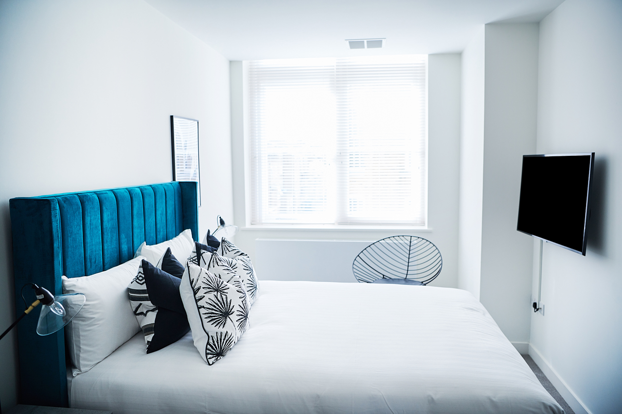Bright bedroom at The Residence at Shoreditch Apartments - Citybase Apartments