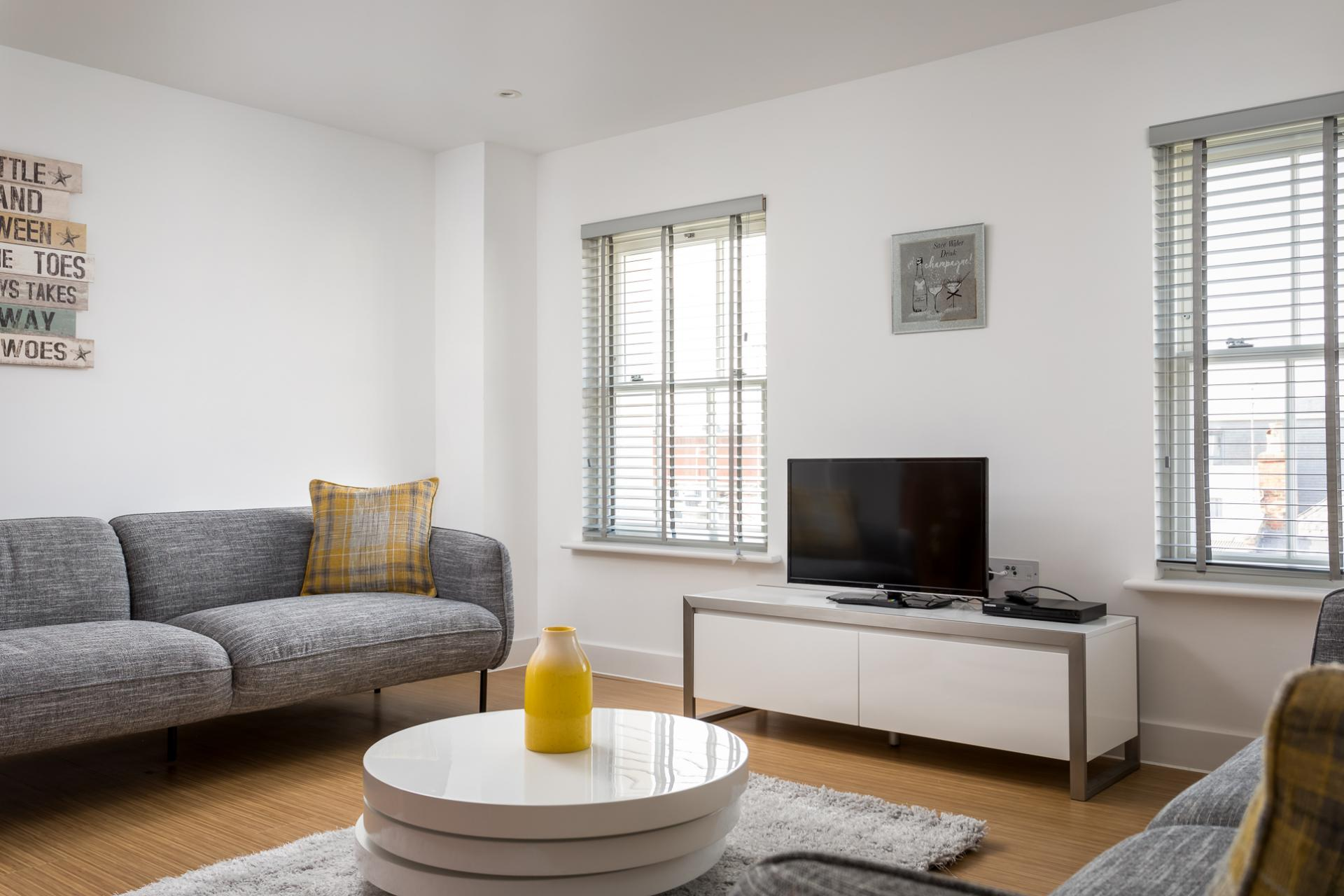 Living area at Prince Regent Mews Apartment - Citybase Apartments