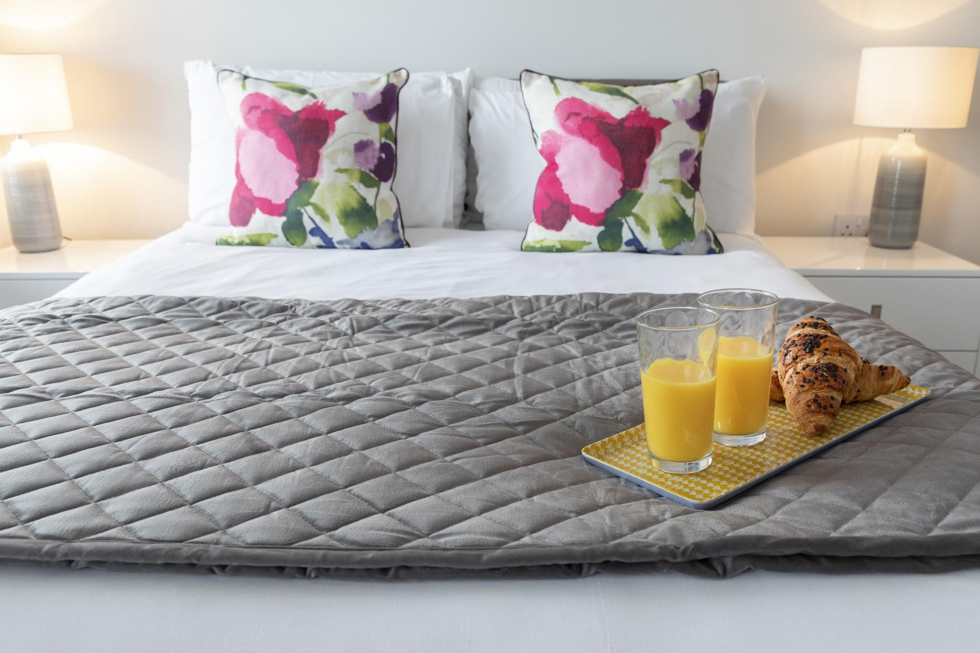Comfy bed at Prince Regent Mews Apartment - Citybase Apartments
