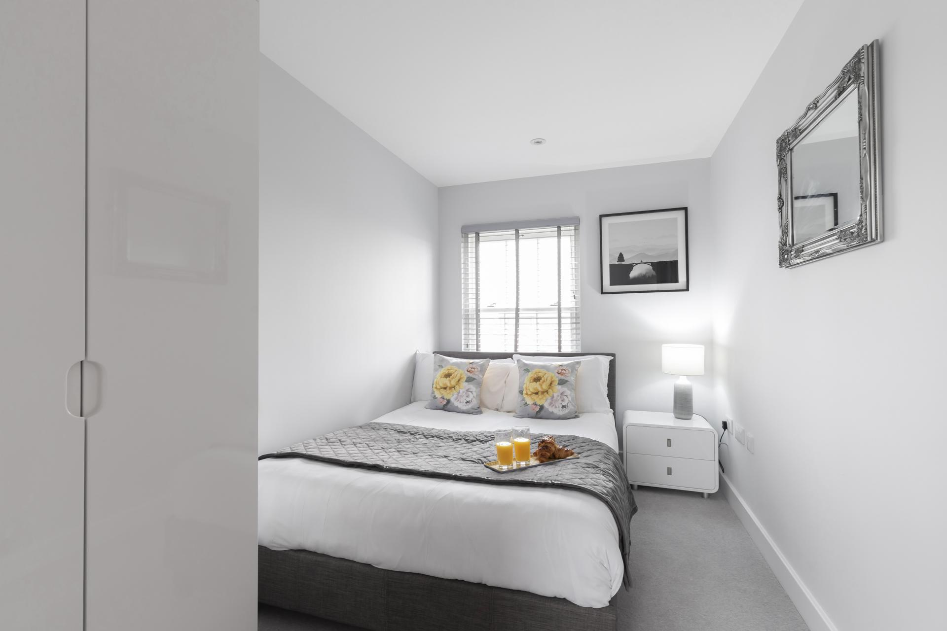 Cosy bedroom at Prince Regent Mews Apartment - Citybase Apartments