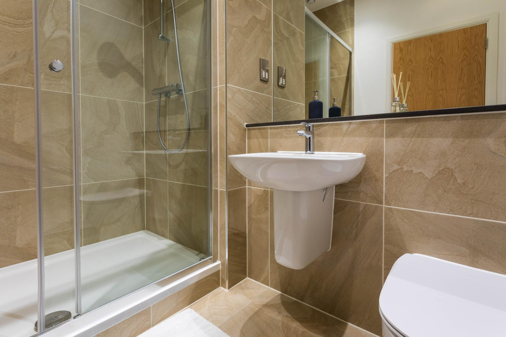 Shower at Emerald House Apartments - Citybase Apartments