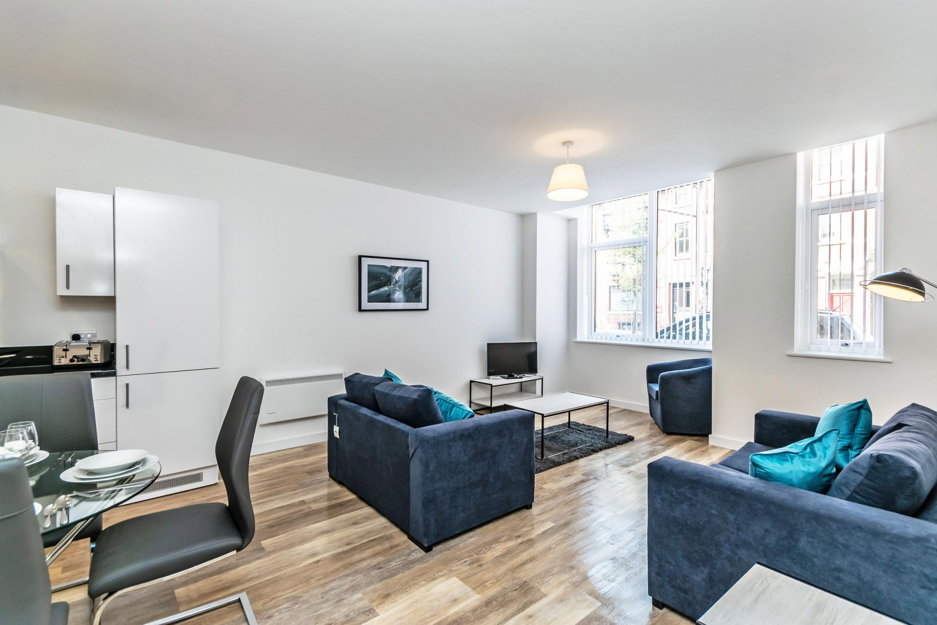Open-plan living area at City Suites Apartments - Citybase Apartments