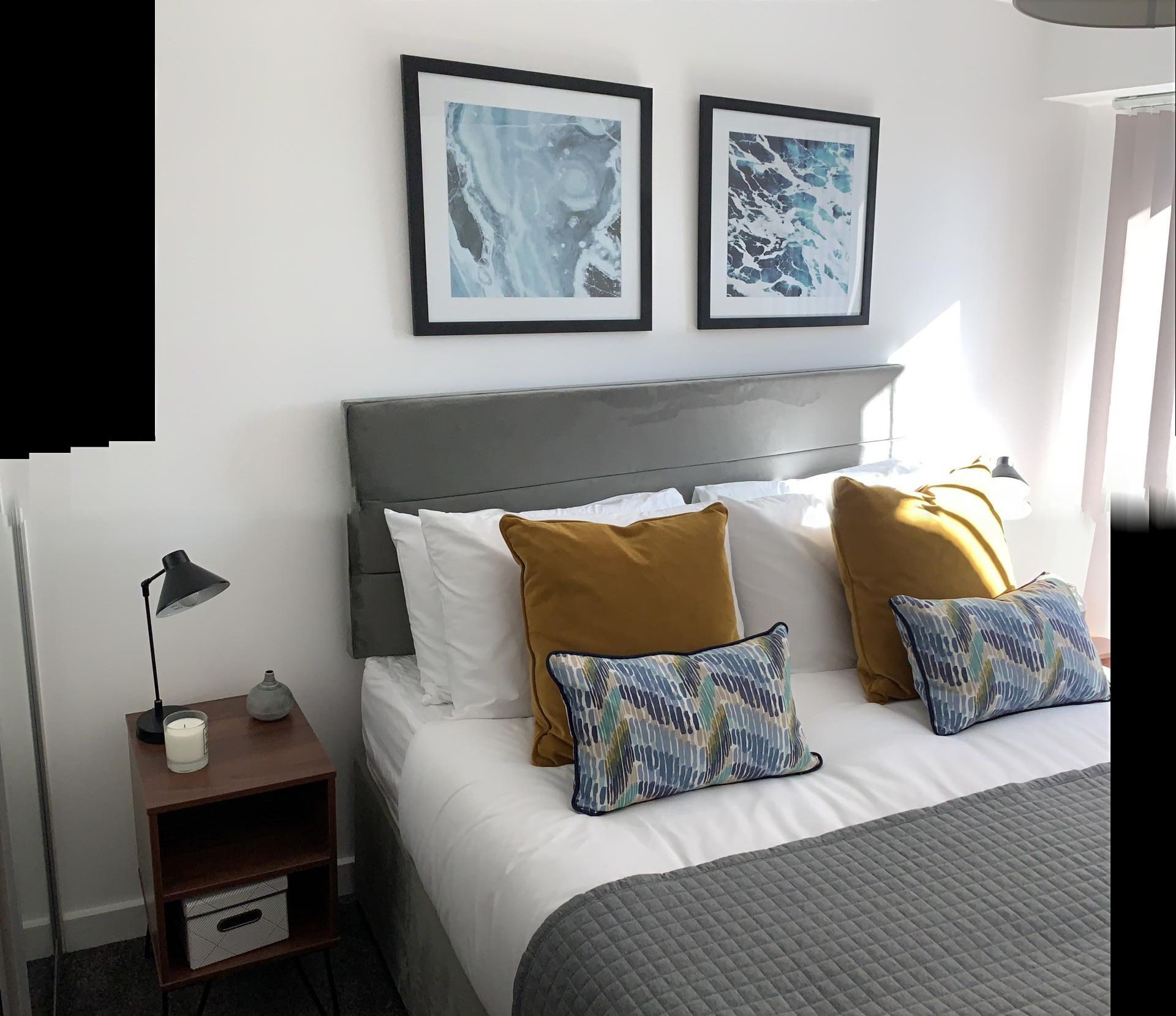 Modern bedroom at The Forum Apartments - Citybase Apartments