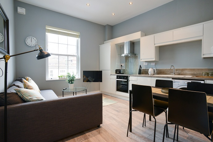 Living room at Arena Serviced Apartments - Citybase Apartments