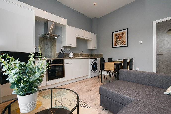 Modern kitchen at Arena Serviced Apartments - Citybase Apartments