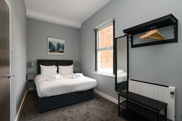 Double bed at Arena Serviced Apartments - Citybase Apartments