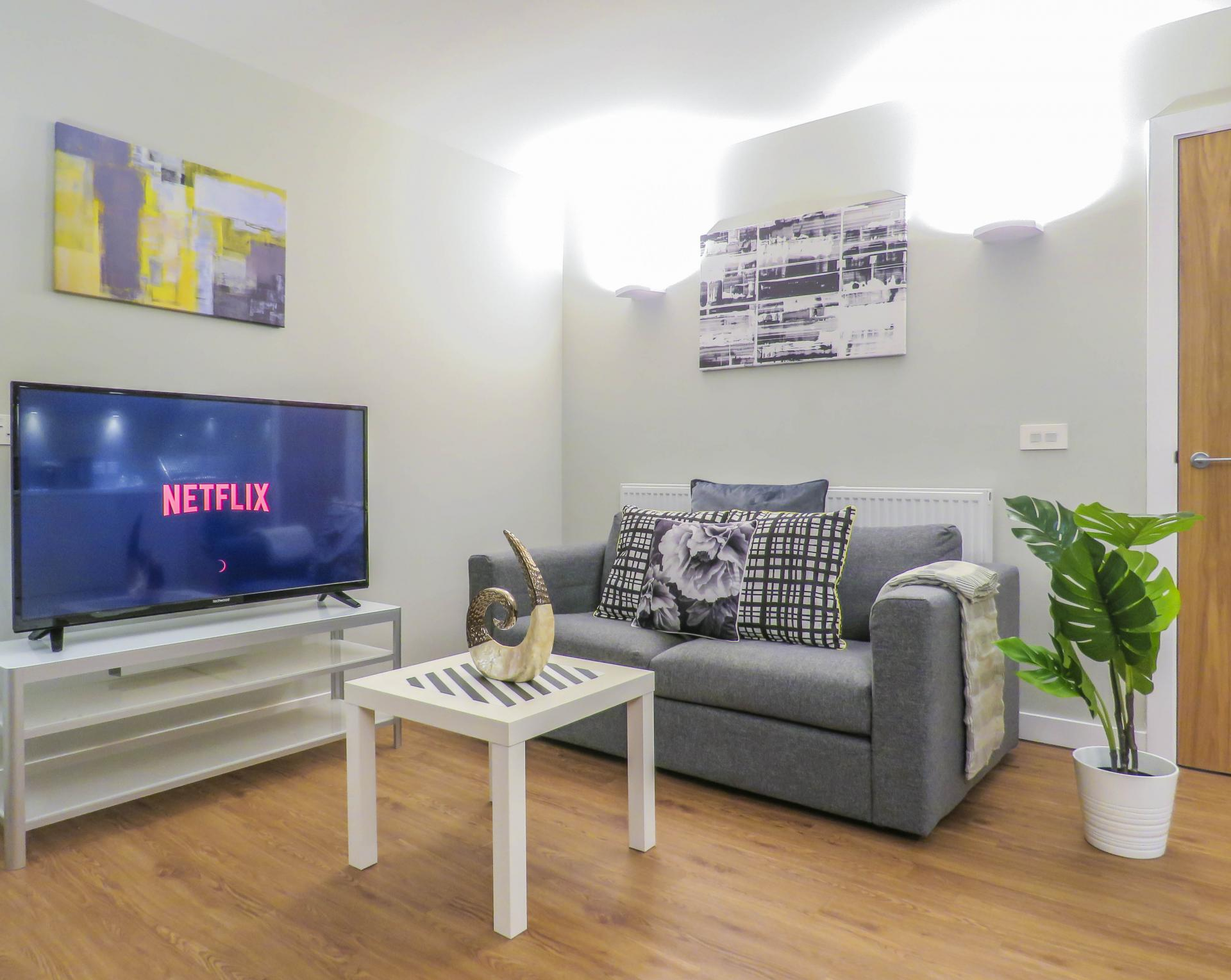 Living room at Jewellery Quarter Serviced Apartments - Citybase Apartments