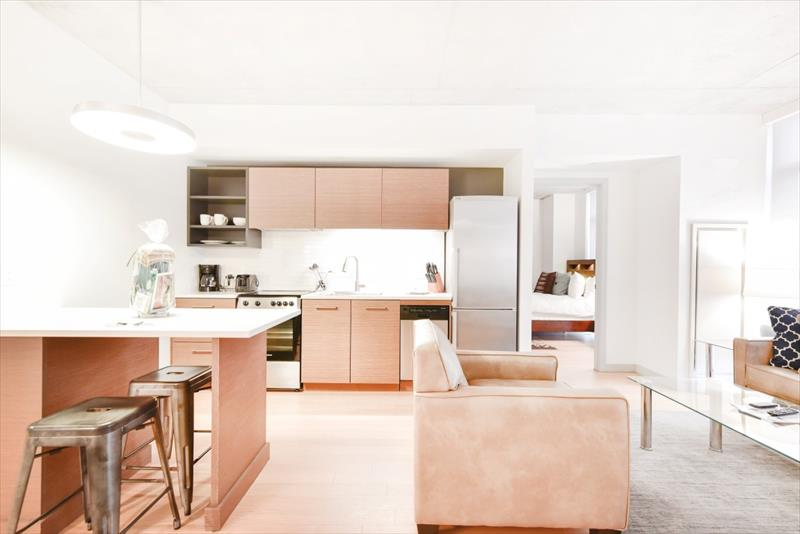 Open-plan living area at 315 on A Apartments - Citybase Apartments