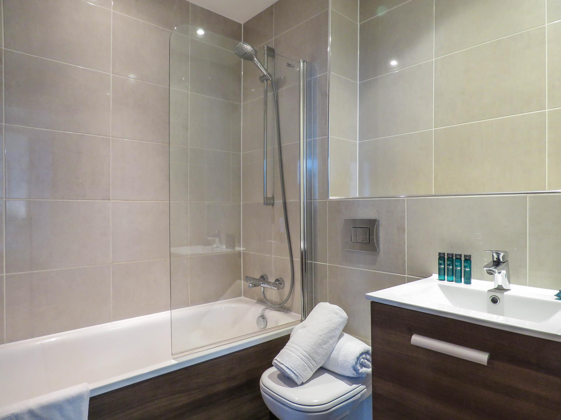 Shower over bath at Hagley Road Serviced Apartment - Citybase Apartments