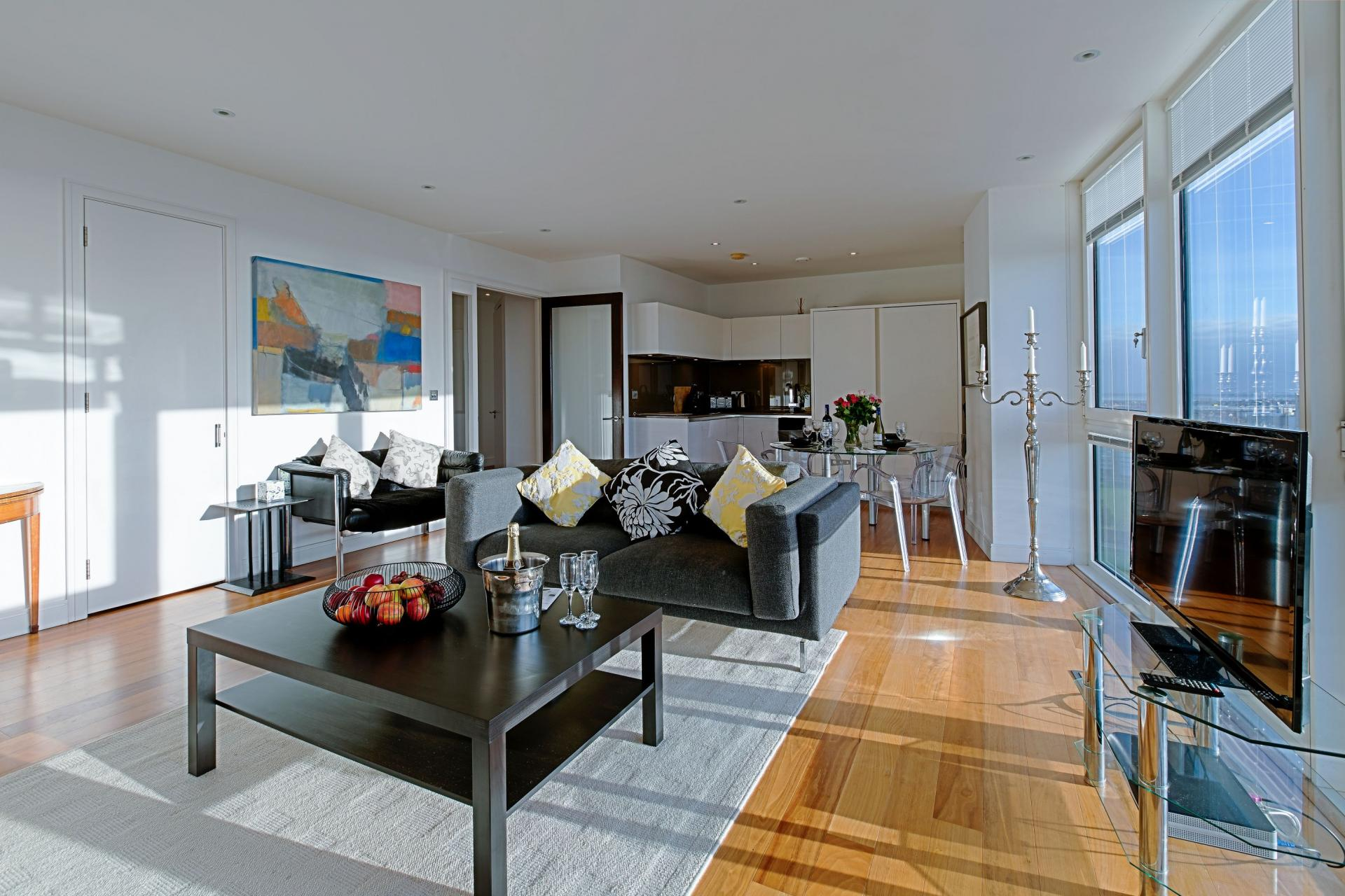 Living room at Gunwharf Quays Serviced Apartments - Citybase Apartments