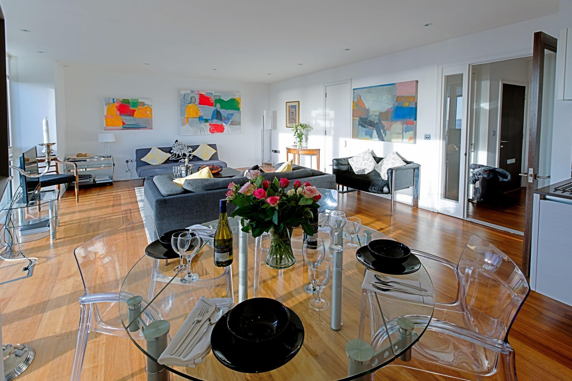 Dining table at Gunwharf Quays Serviced Apartments - Citybase Apartments