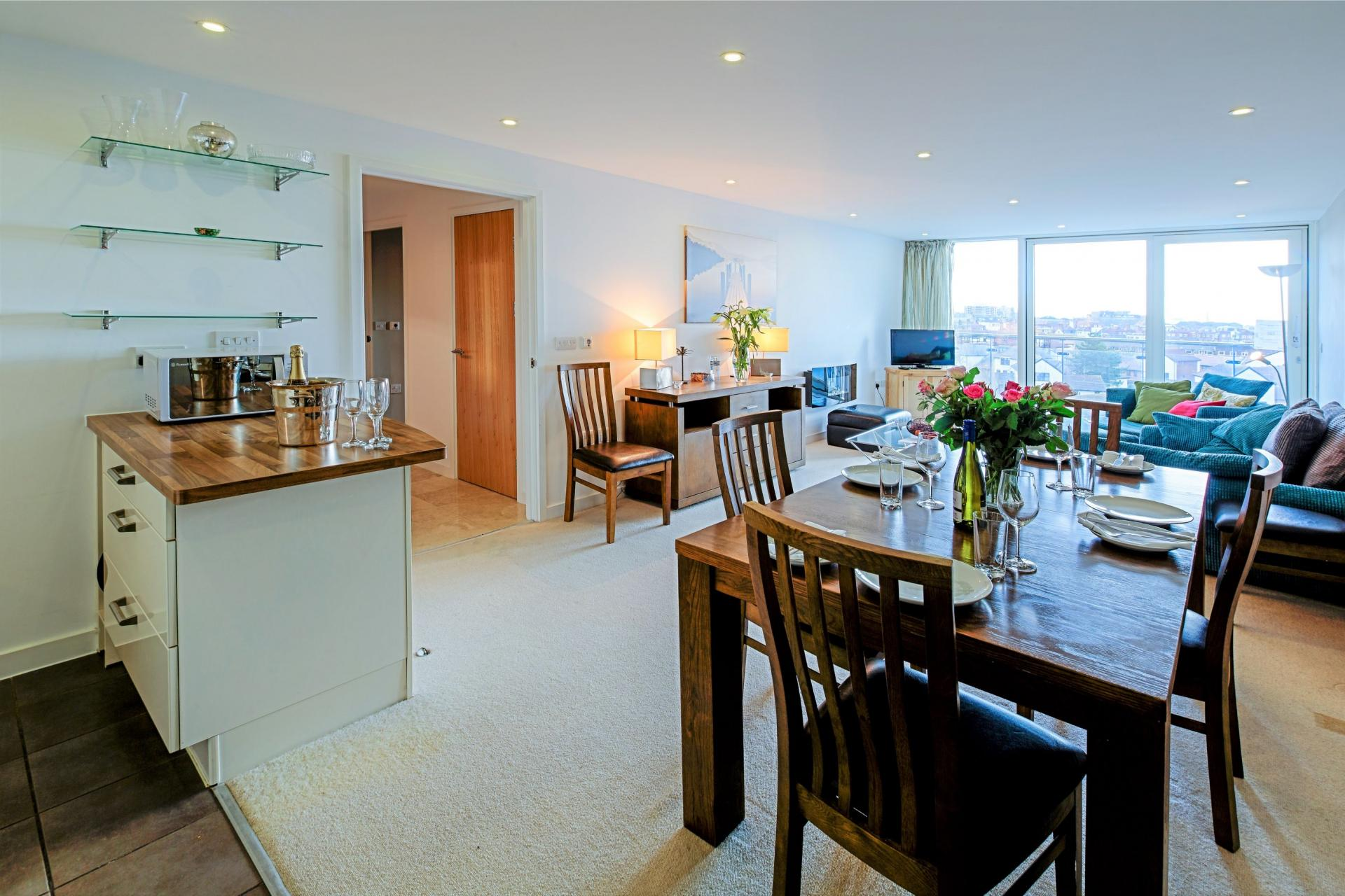 Dining area at Gunwharf Quays Serviced Apartments - Citybase Apartments