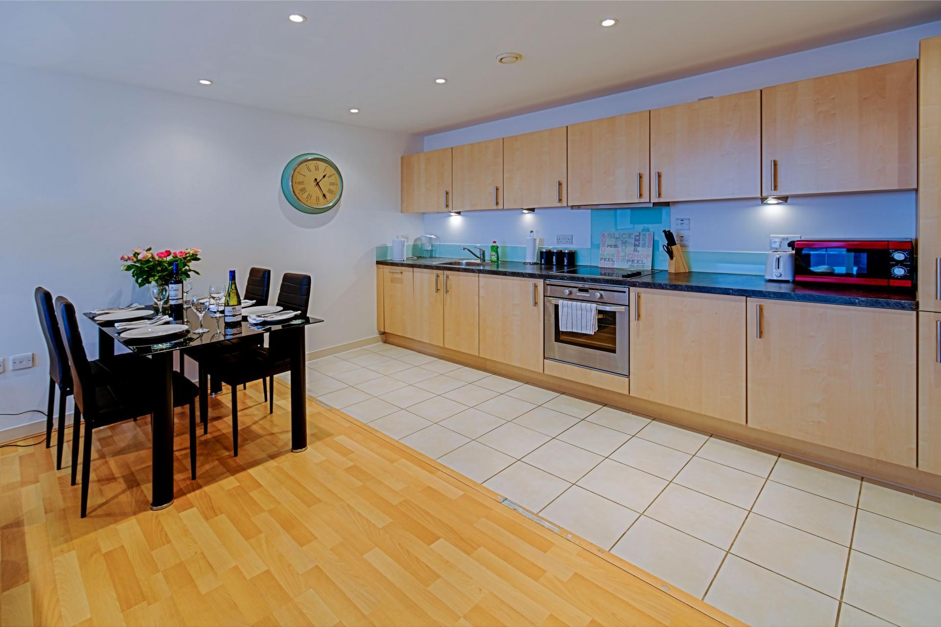 Spacious kitchen at Gunwharf Quays Serviced Apartments - Citybase Apartments