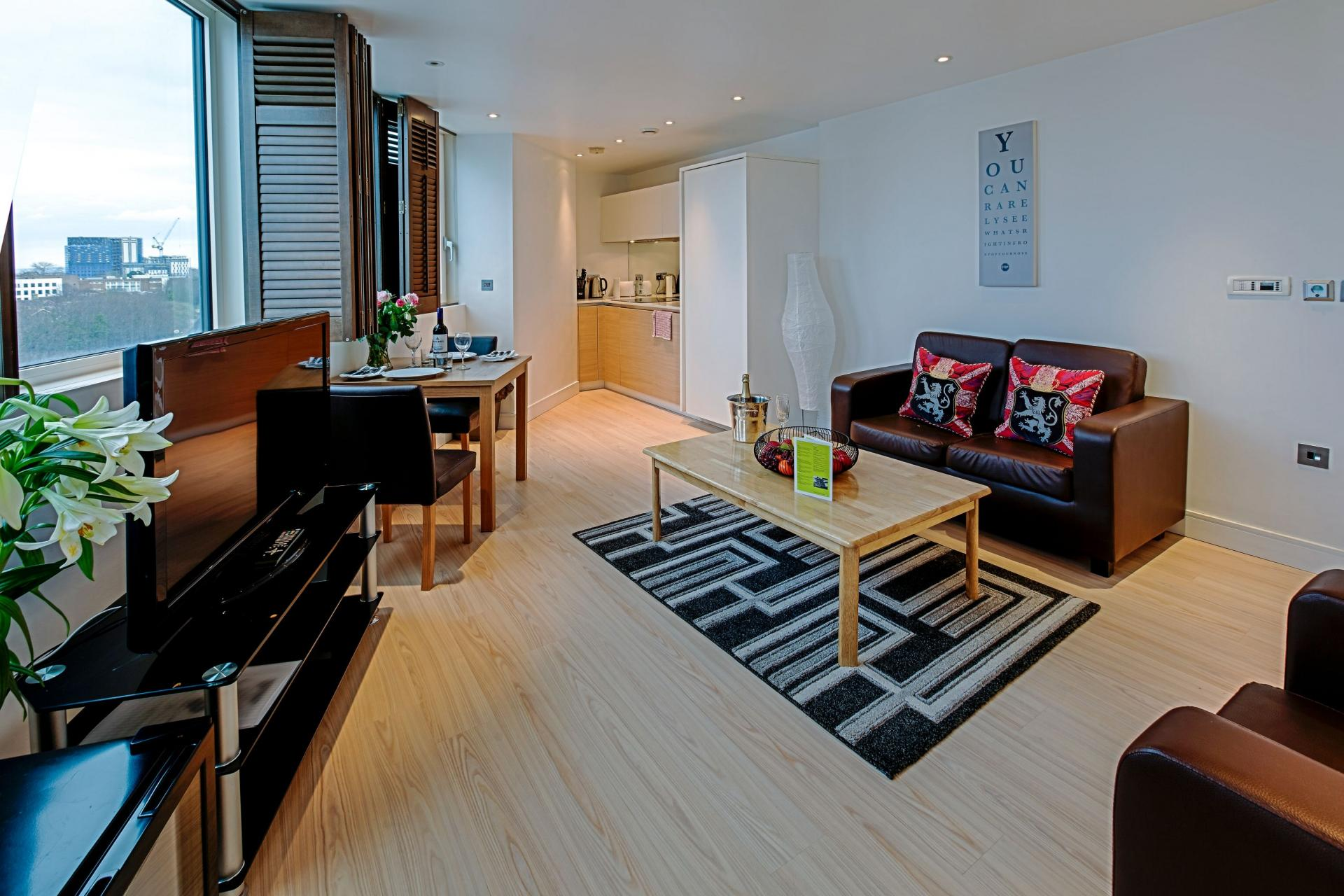 Lounge area at Gunwharf Quays Serviced Apartments - Citybase Apartments