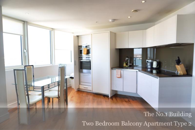 Bright kitchen at Gunwharf Quays Serviced Apartments, Gunwharf Quays, Portsmouth - Citybase Apartments