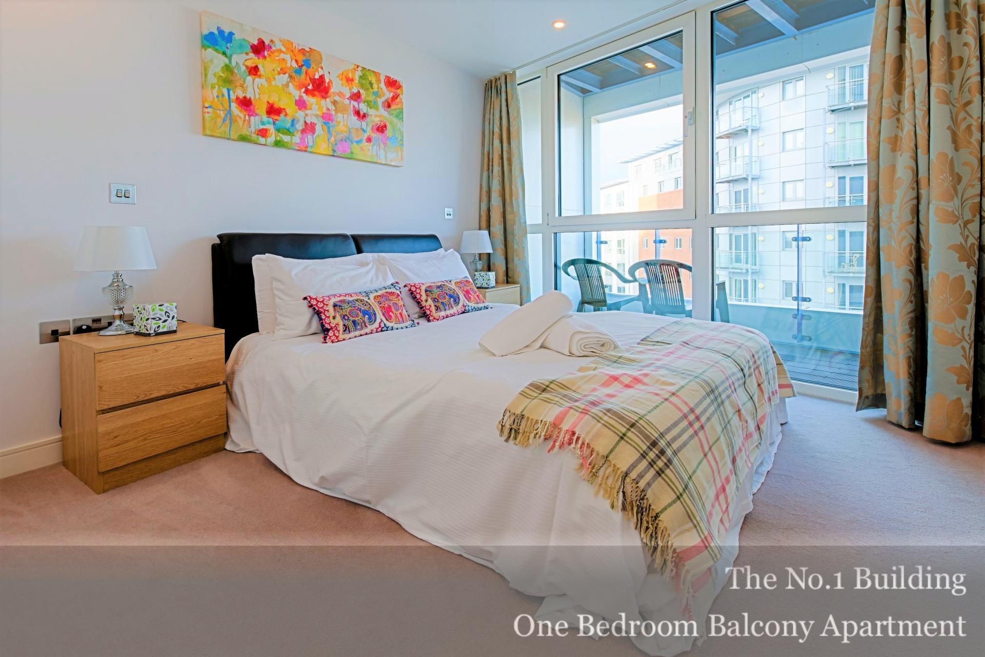 Colourful bedroom at Gunwharf Quays Serviced Apartments, Gunwharf Quays, Portsmouth - Citybase Apartments