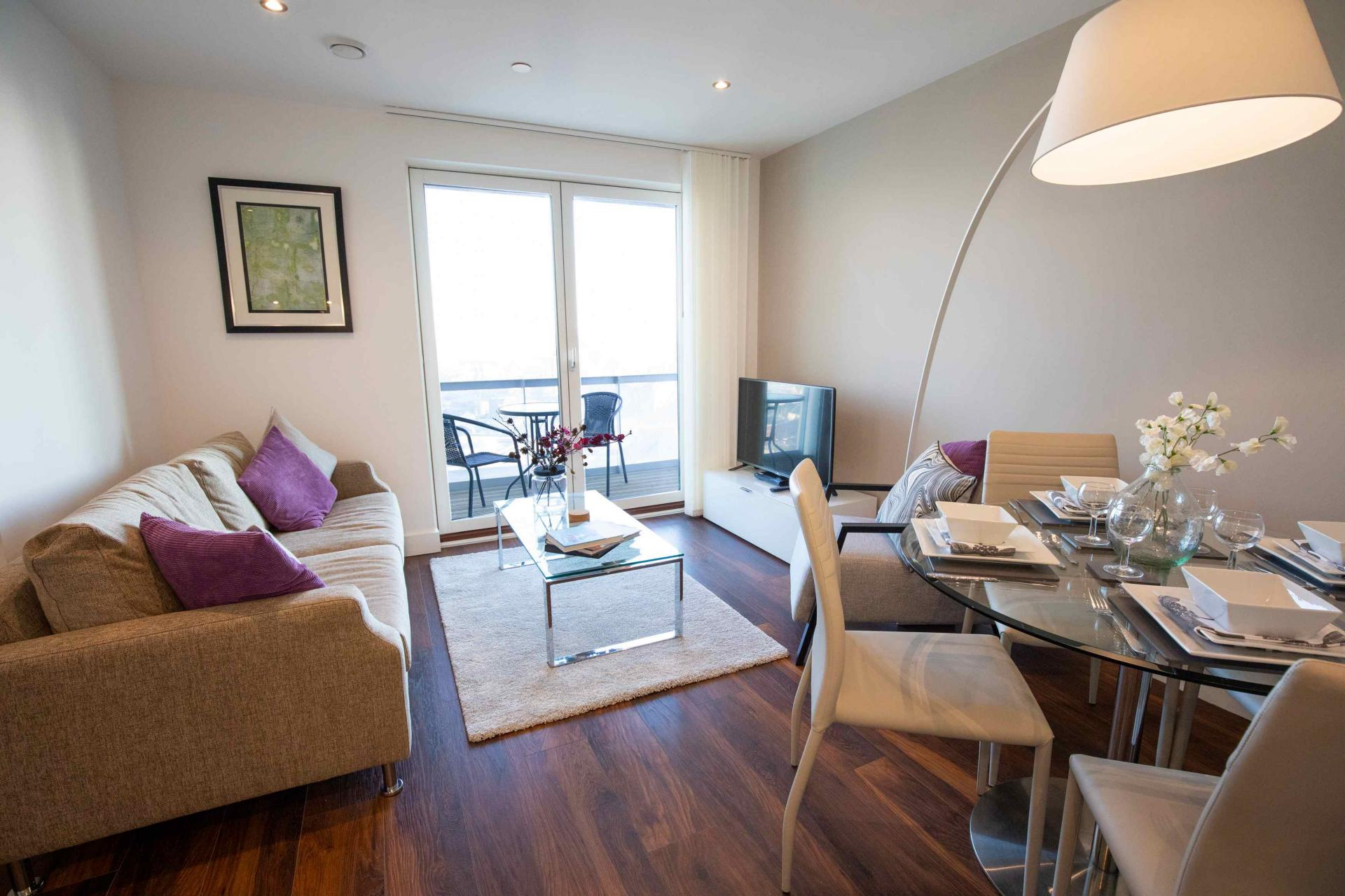Living area at Manchester Greengate Apartments - Citybase Apartments