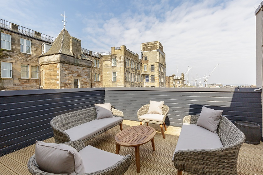 Terrace area at Royal Mile Residence Apartments - Citybase Apartments