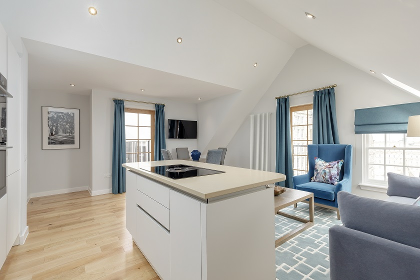 Open-plan living area at Royal Mile Residence Apartments - Citybase Apartments