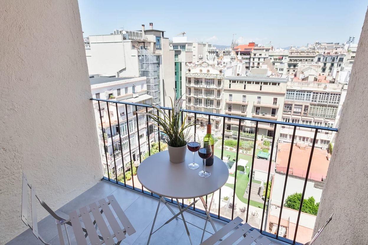 Balcony at Sunny Serviced Apartments, Eixample, Barcelona - Citybase Apartments