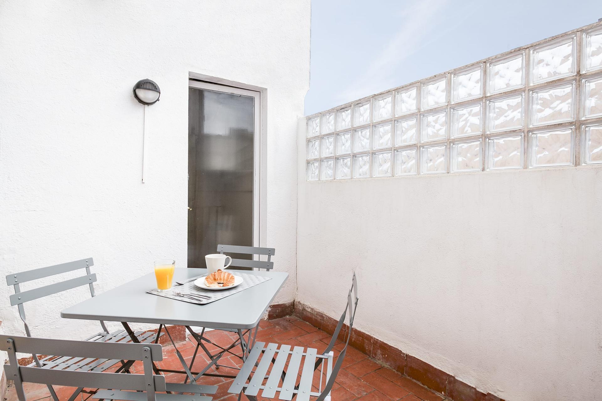 Sunny terrace at Sunny Serviced Apartments, Eixample, Barcelona - Citybase Apartments