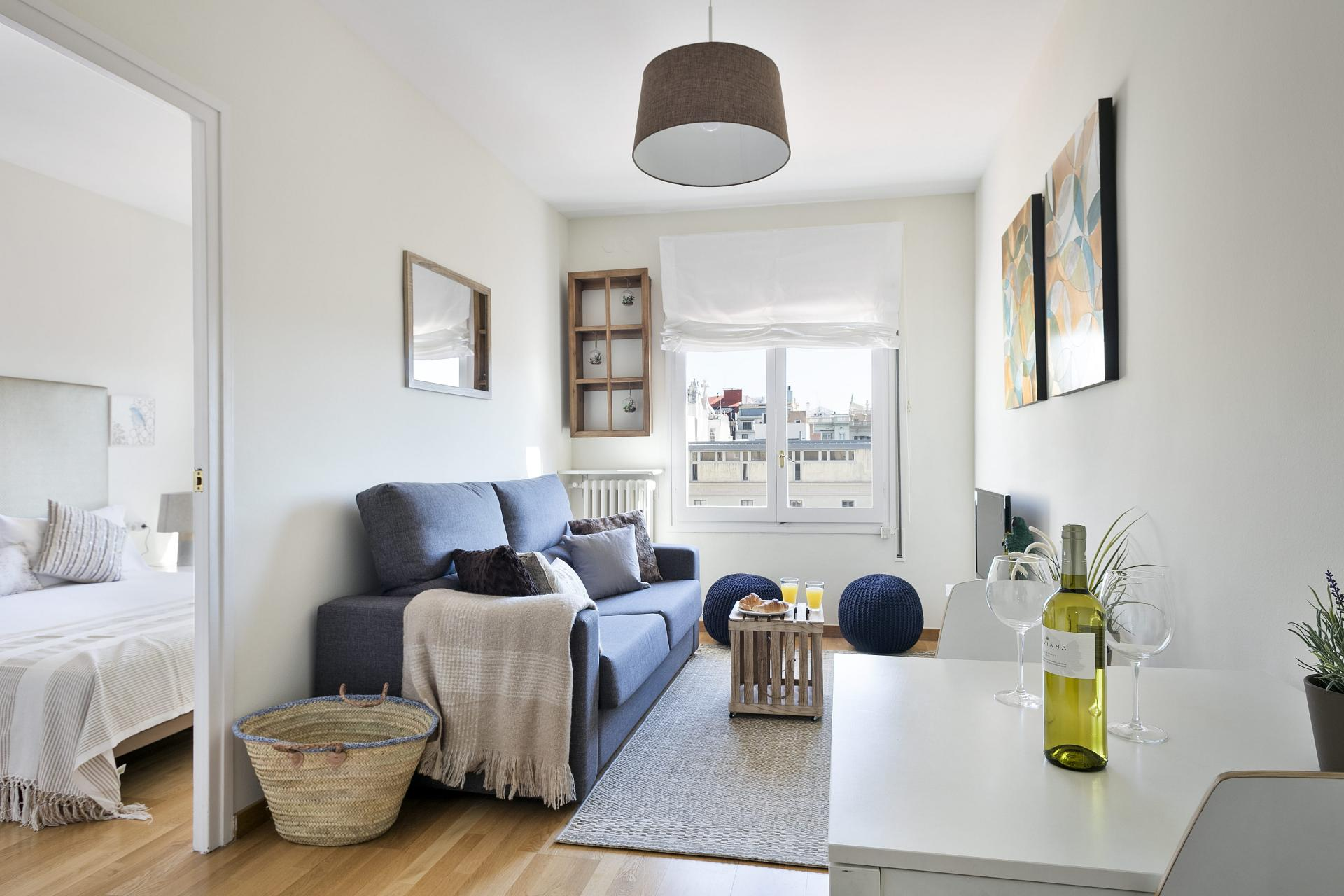 Cosy lounge at Sunny Serviced Apartments, Eixample, Barcelona - Citybase Apartments