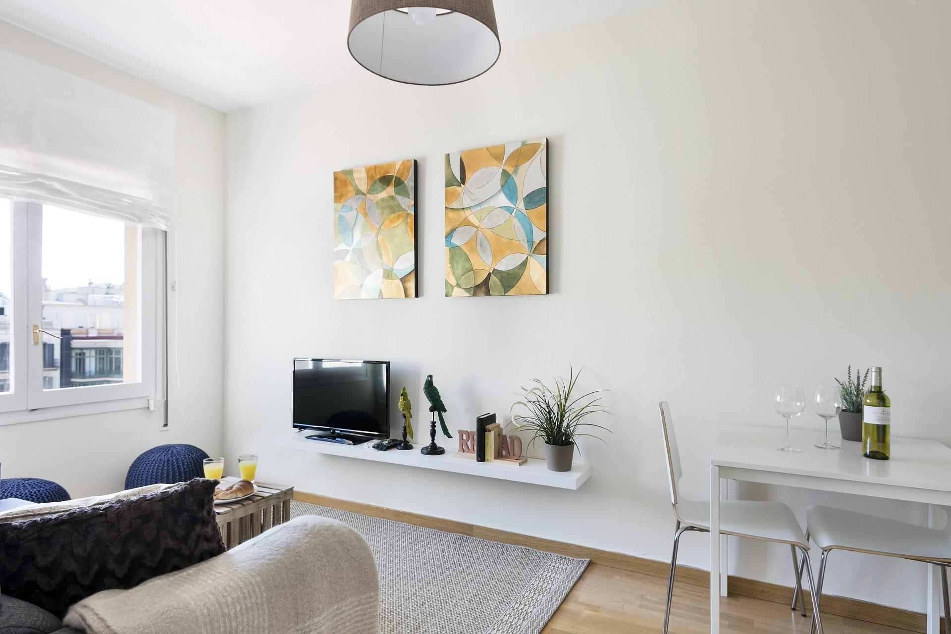 TV at Sunny Serviced Apartments, Eixample, Barcelona - Citybase Apartments