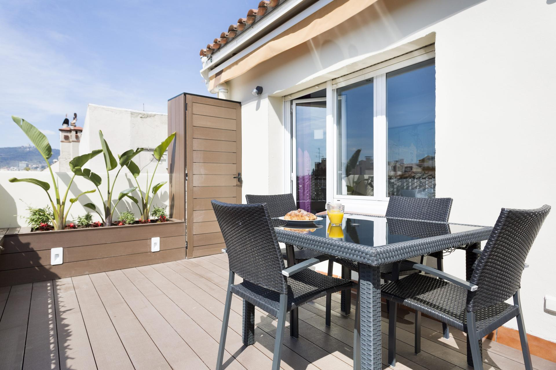 Terrace at Sunny Serviced Apartments, Eixample, Barcelona - Citybase Apartments