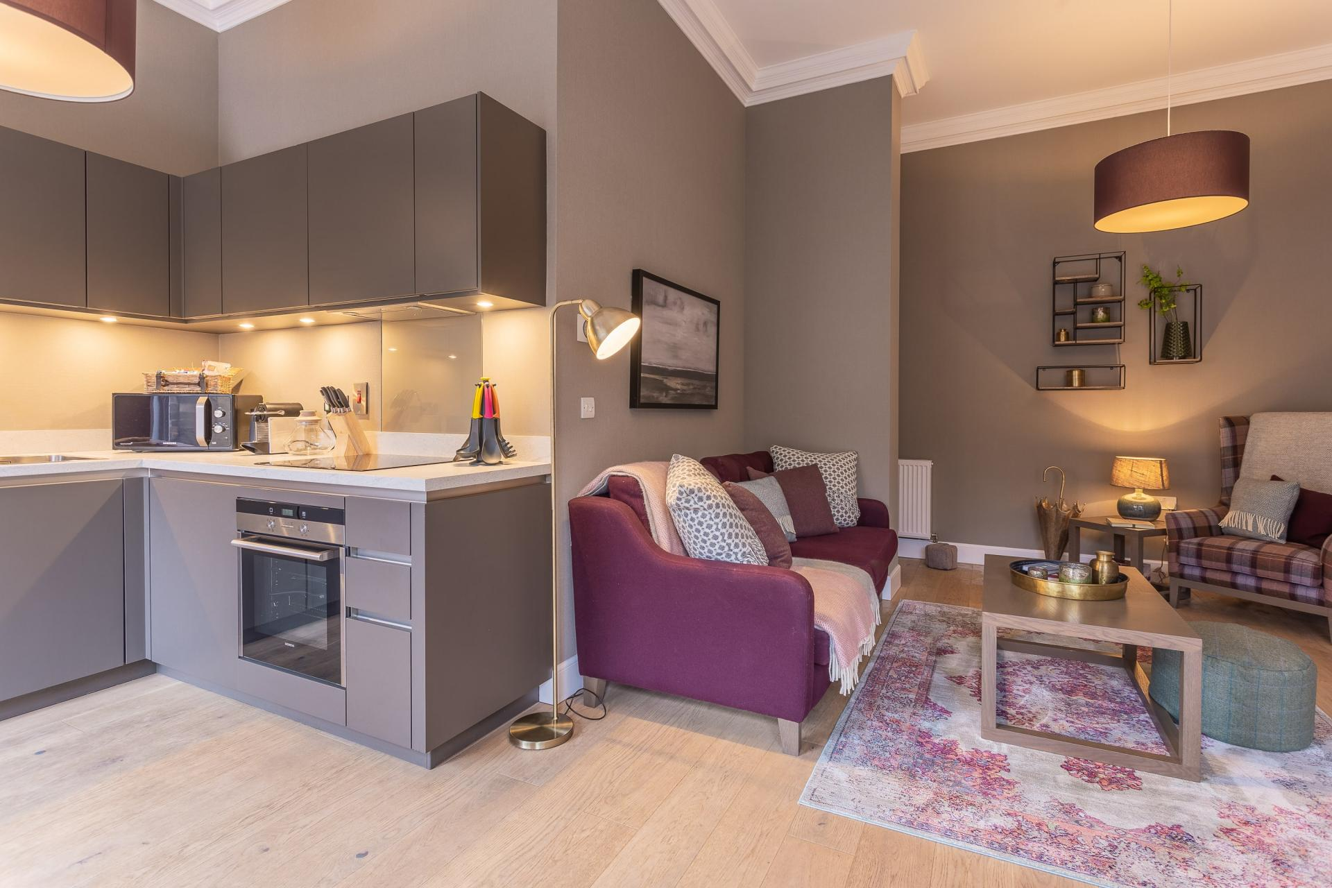Kitchen/living area at No.1 Apartments - George IV Bridge Apartments - Citybase Apartments