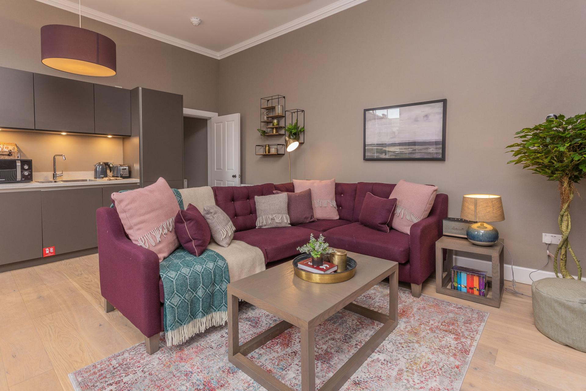 Open-plan living area at No.1 Apartments - George IV Bridge Apartments - Citybase Apartments