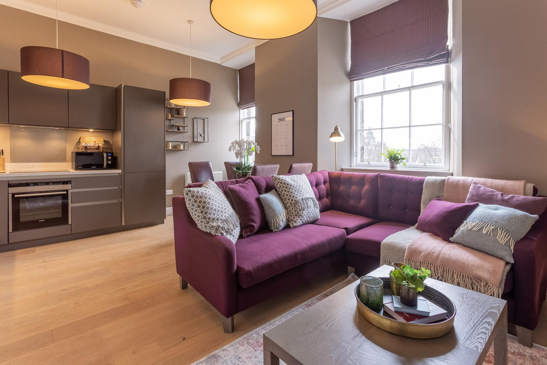 Modern living area at No.1 Apartments - George IV Bridge Apartments - Citybase Apartments