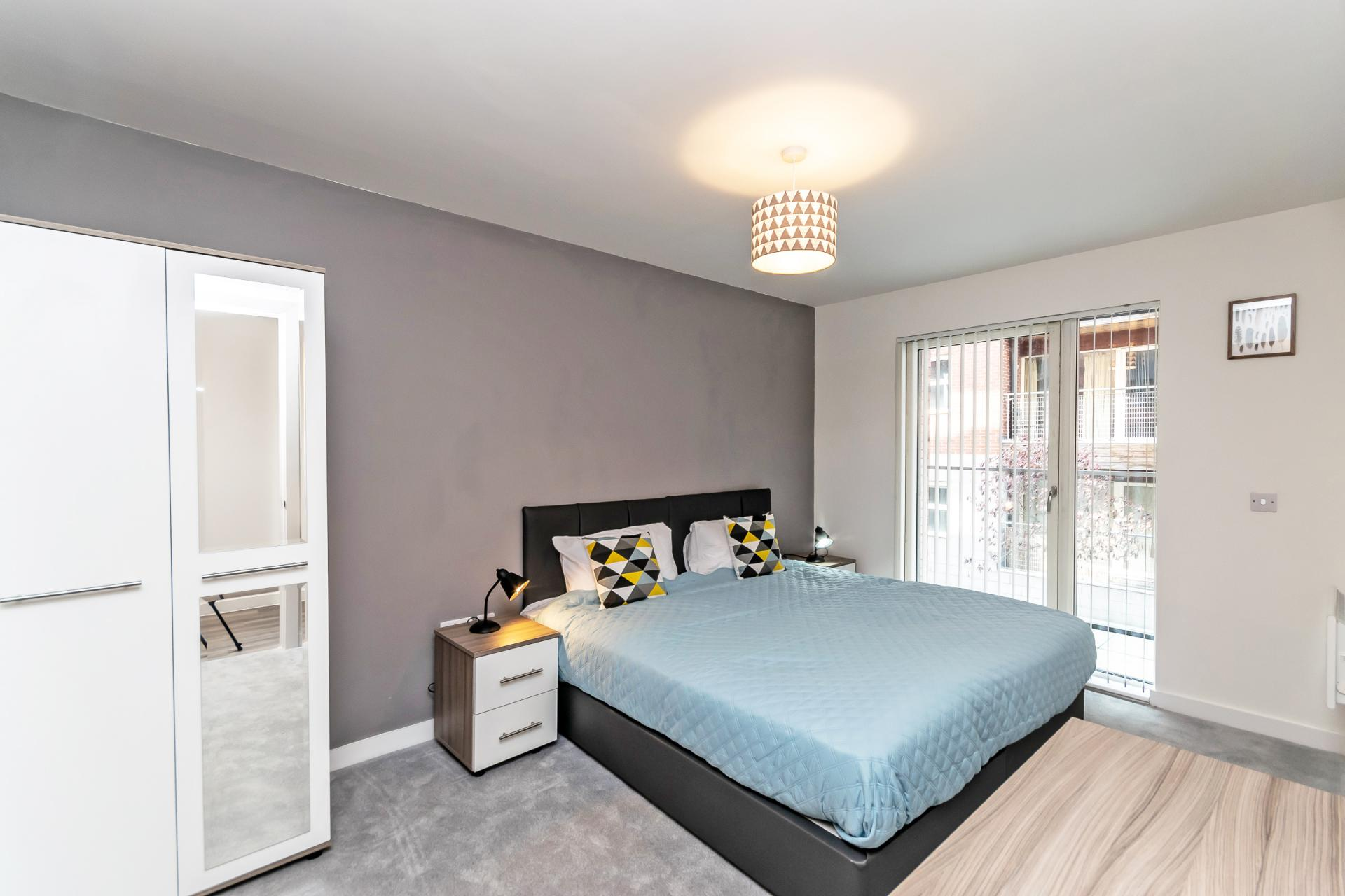 Bedroom at Halo House Serviced Apartments, Green Quarter, Manchester - Citybase Apartments