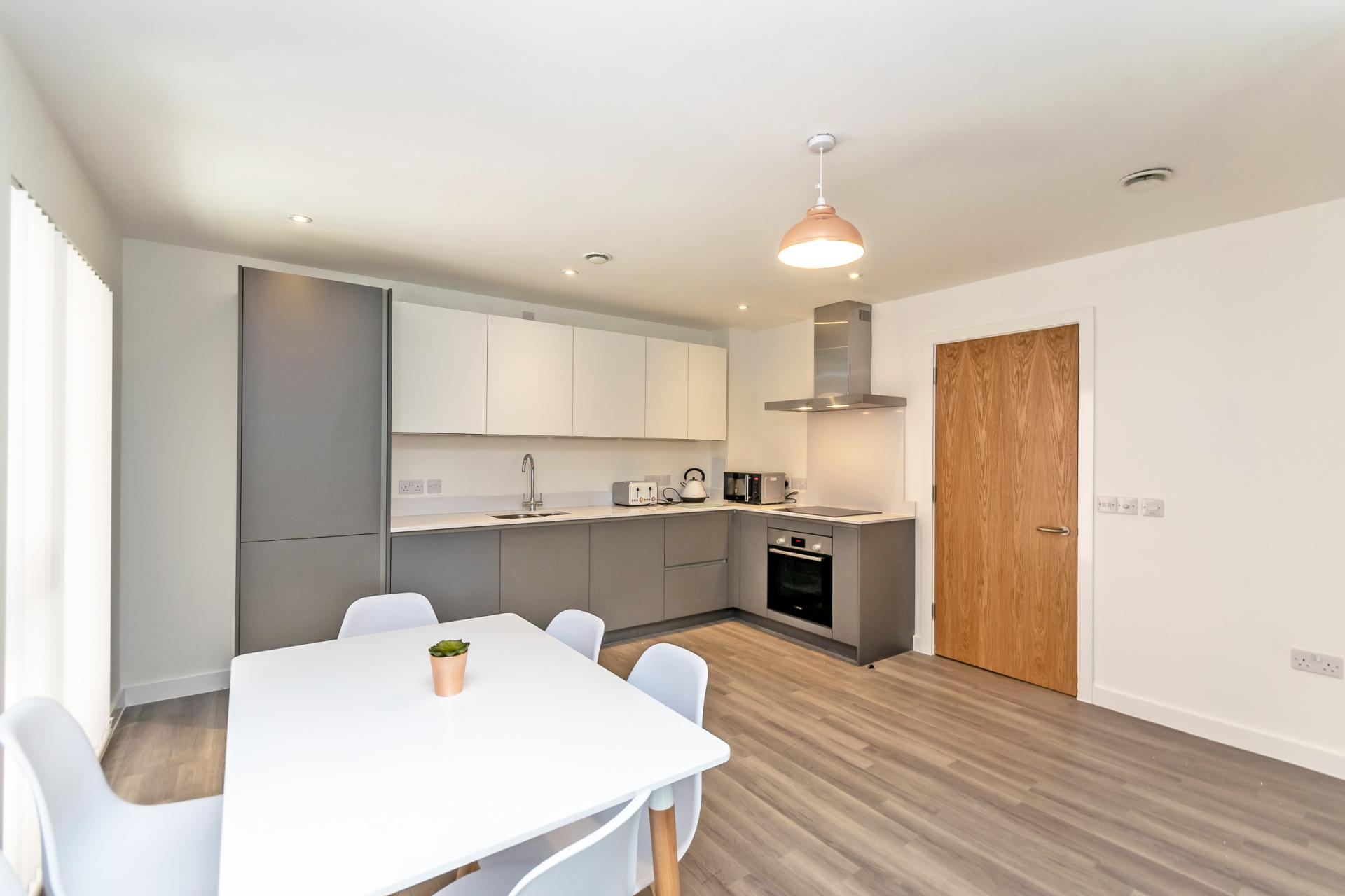 Kitchen at Halo House Serviced Apartments, Green Quarter, Manchester - Citybase Apartments