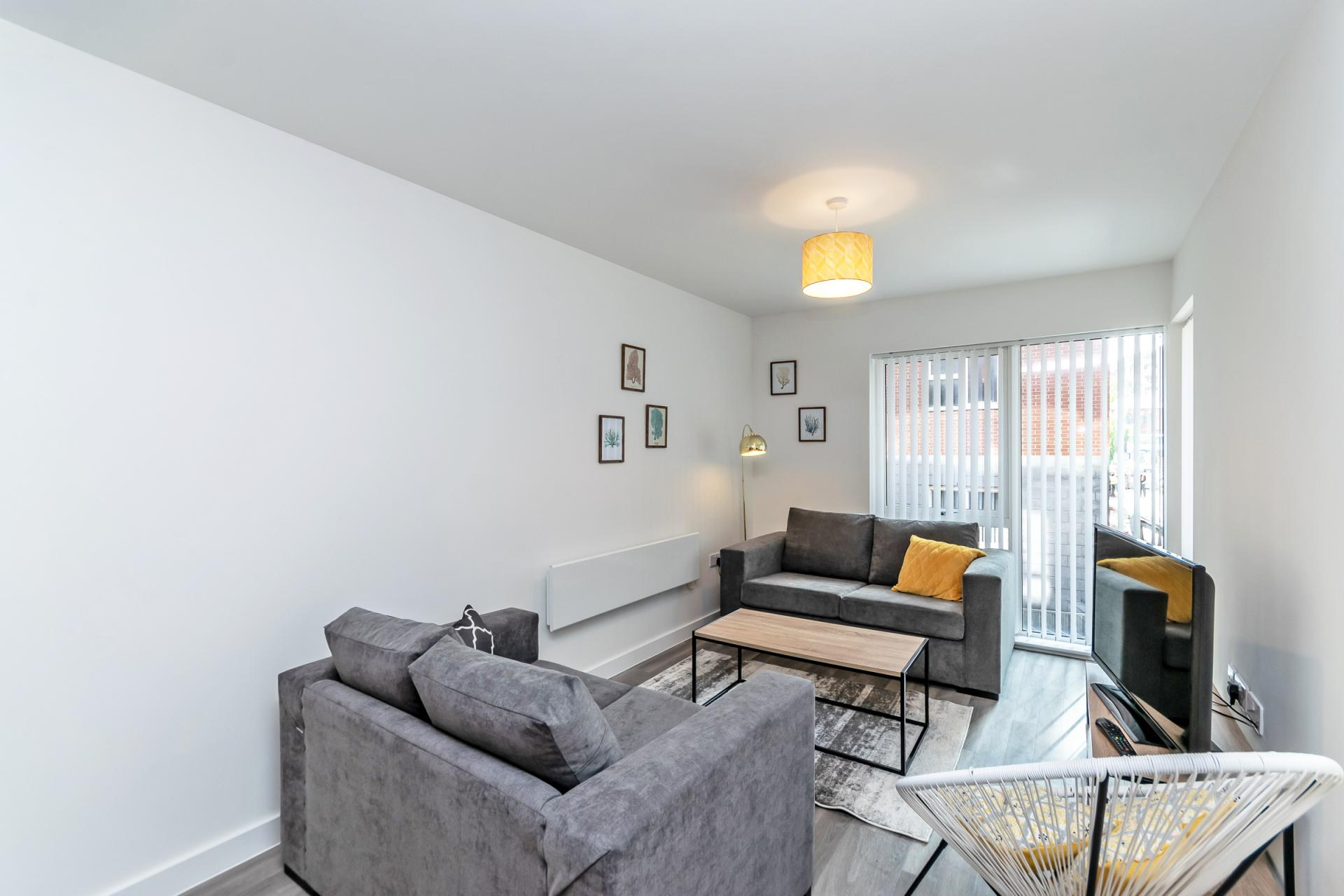 Lounge at Halo House Serviced Apartments, Green Quarter, Manchester - Citybase Apartments