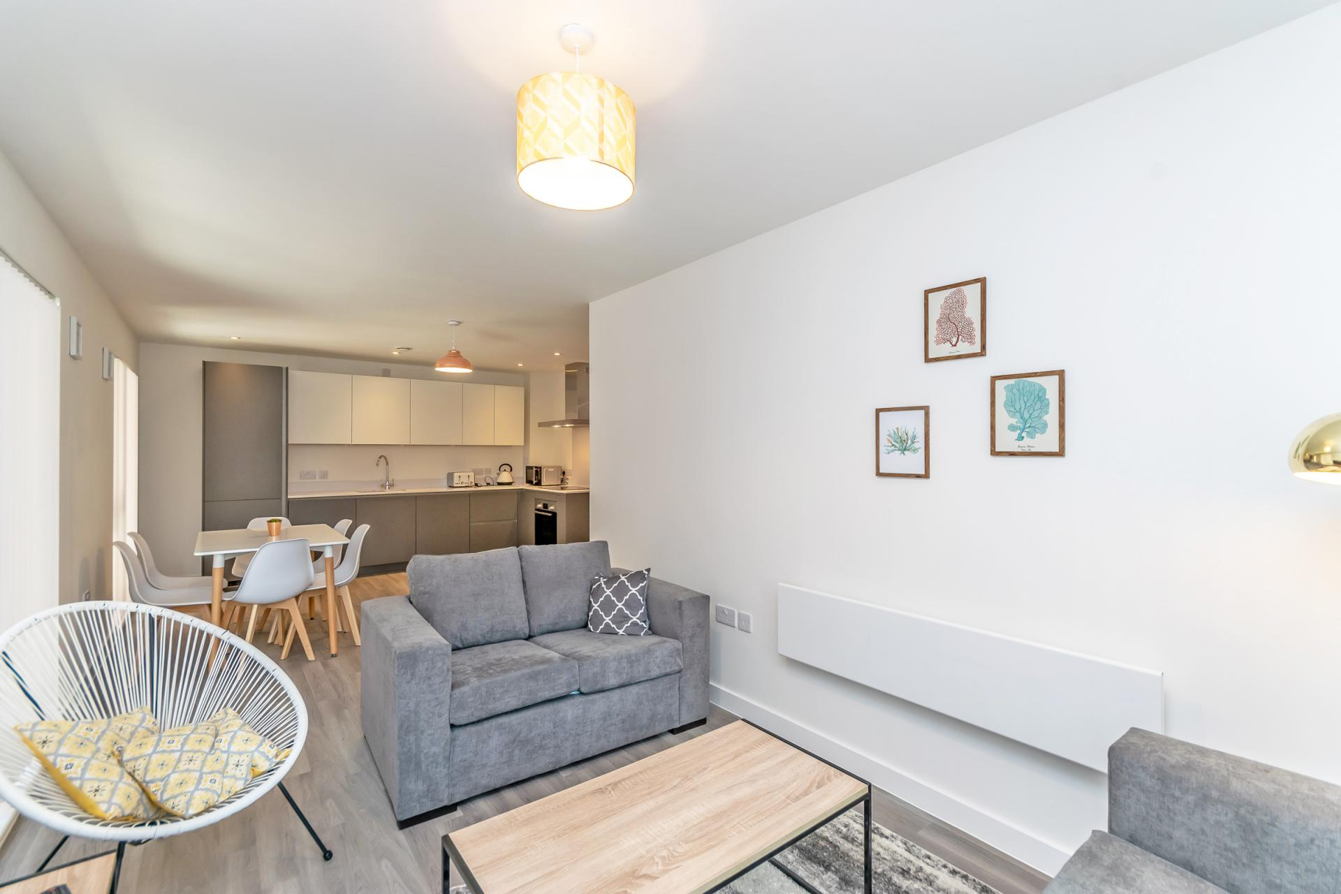 Sofa at Halo House Serviced Apartments, Green Quarter, Manchester - Citybase Apartments