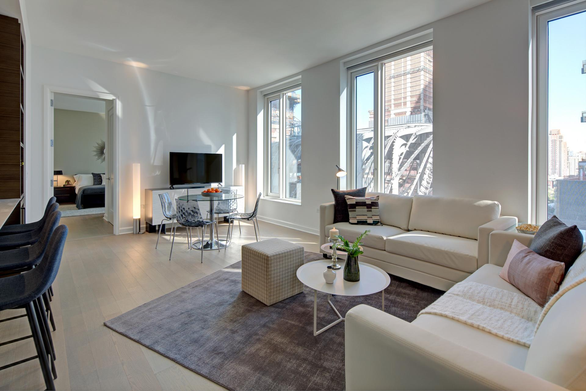 Living room at One Hudson Yards Apartments - Citybase Apartments
